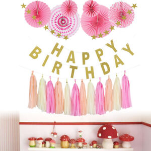 Joyeux-anniversaire-banniere-papier-gland-boule-Table-parti-suspendu-decoration