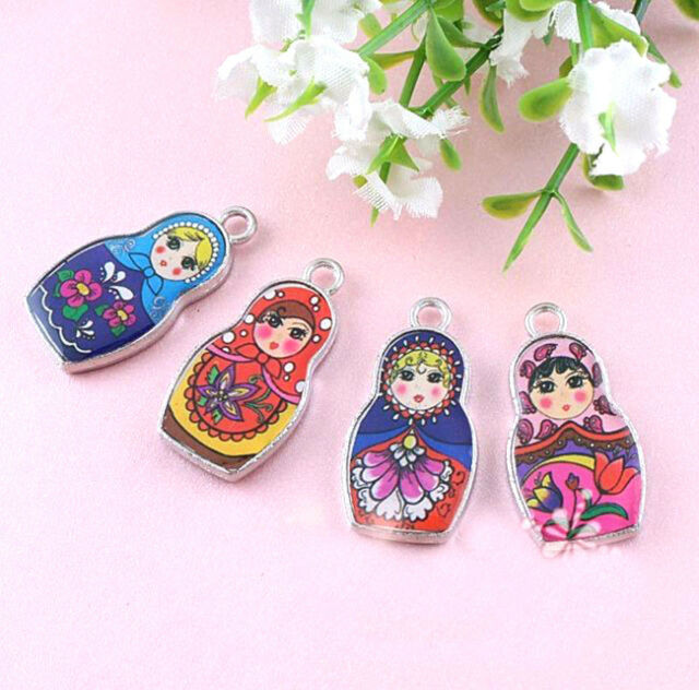 5Pcs Two-Sided Mixed Color Enamel Russian Doll Charm Pendant 4 Style Choose