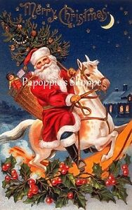 Vintage-Christmas-Fabric-Block-Santa-Claus-Rockin-Horse