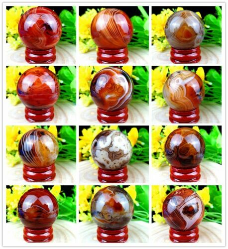 Madagascar Crazy Lace Silk Banded Agate Tumbled Ball Furnishing Articles HX16