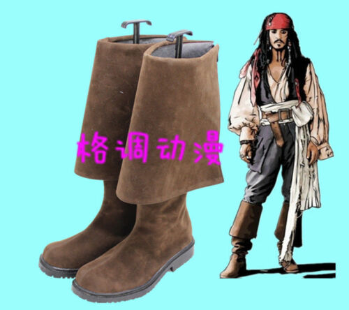 Hot! Pirates of the Caribbean Jack Sparrow Cosplay Boots Shoes Halloween  AA.052