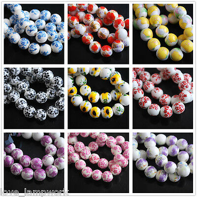 10pcs 10mm Round Porcelain Ceramic Flower Design Loose Spacer Beads Lot Jewelry