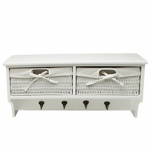 Image Is Loading White Wall Shelf Unit With Two Wicker Drawers