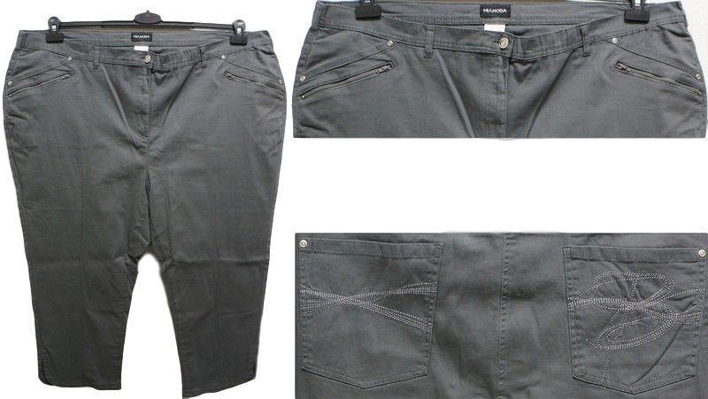Neuf Grande Taille Superbe Femmes 3/4 Stretch Pantalon Tissu Gris Avec Broderie Taille 56,58,62