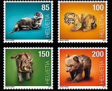 Switzerland 2017 suisse baby animal bear otter lynx wolf loup ours loutre 4v mnh