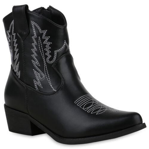 Damen Stiefeletten Cowboy Boots Western Schuhe Stickereien Stiefel 825826 Trendy