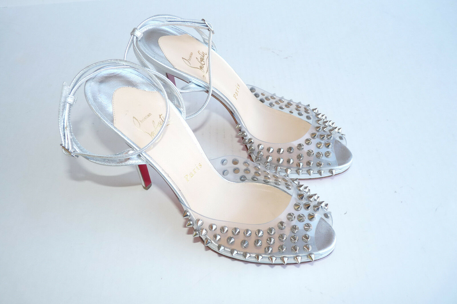 Christian Louboutin SPIKE Silver Ankle Strap Heels Sandals shoes Sz 38.5 8 m