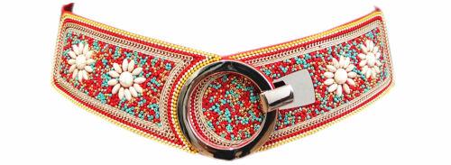 Da Donna Tribale cintura CON CONCHIGLIE PERLA Hippie Boho In Vita Cintura Rosso zsp-16764