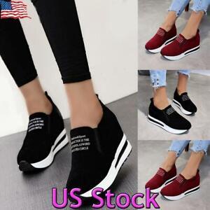 Women-039-s-Platform-Hidden-Heel-Wedge-Loafers-Sneakers-Slip-On-Trainer-Casual-Shoes
