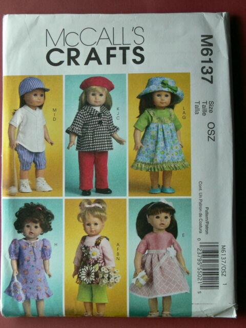 "46CM McCall/'s Pattern 6137 DOLL CLOTHES FOR 18/"" DOLL outfits wardrobe clothing"