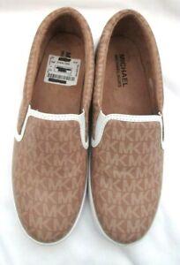 Michael-Kors-Logo-Graystone-Vanilla-Slip-On-Sneakers-Women-039-s-Size-7-Brand-New