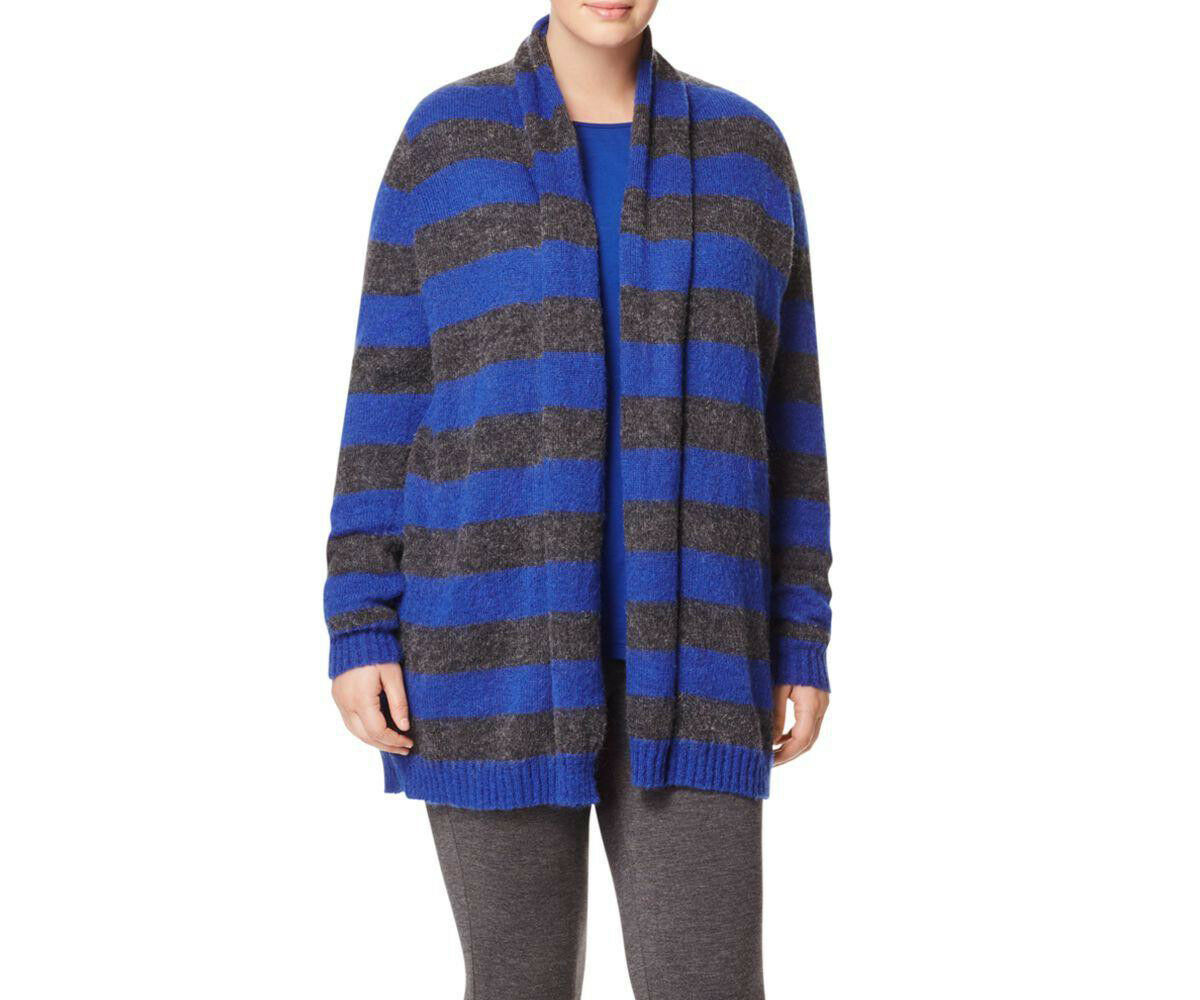 MARINA RINALDI Women's bluee Maquette Striped Mohair Cardigan  320 NWT