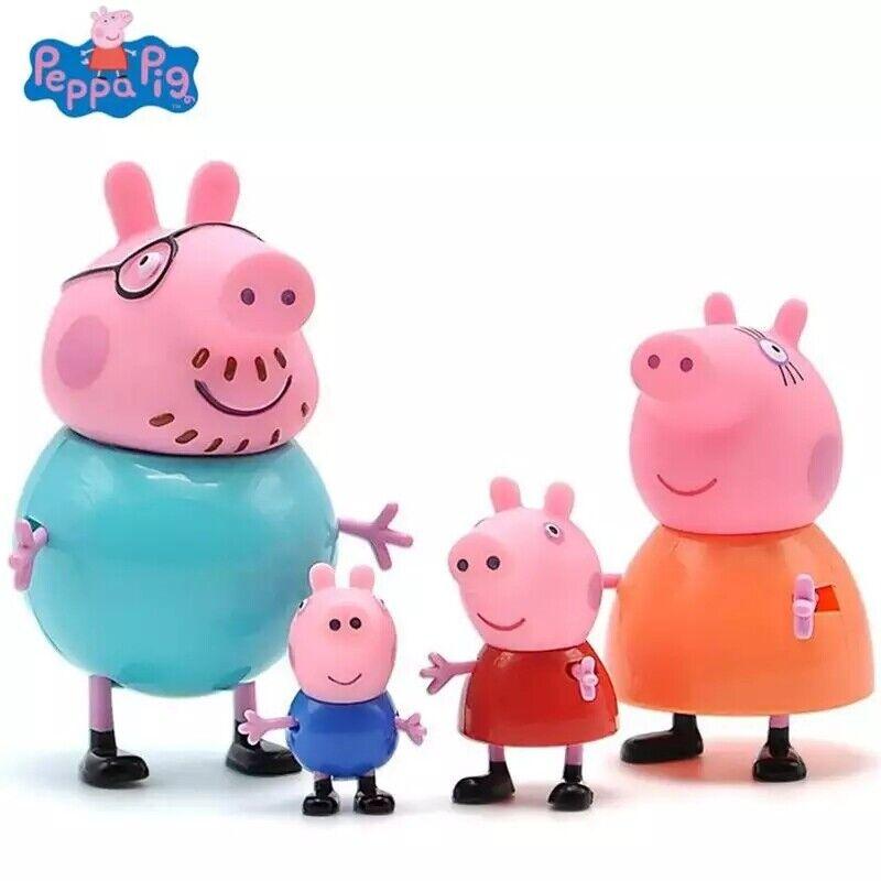 Original Peppa Pig Action Toy Figures 2Pcs Set Family Dad Mom Pig Anime Toys