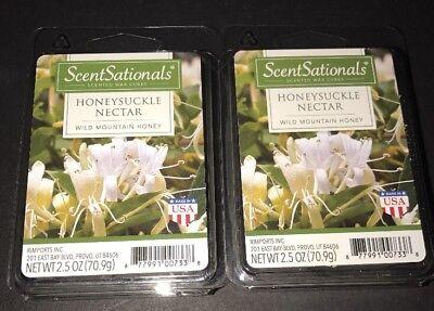 ScentSationals HONEYSUCKLE NECTAR Scented WAX CUBES 2 Packs 2.5 Oz Each