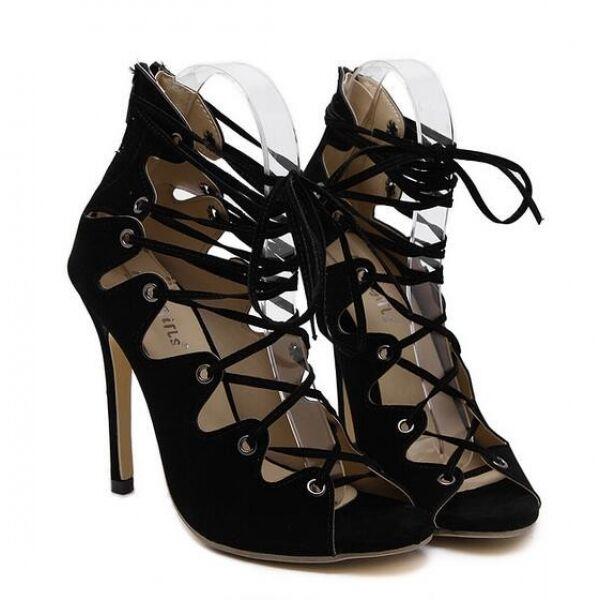Cuir 11 Noir Bottines Sandales Femme D'été Bottes Cm Gladiateur tdCosrhQxB