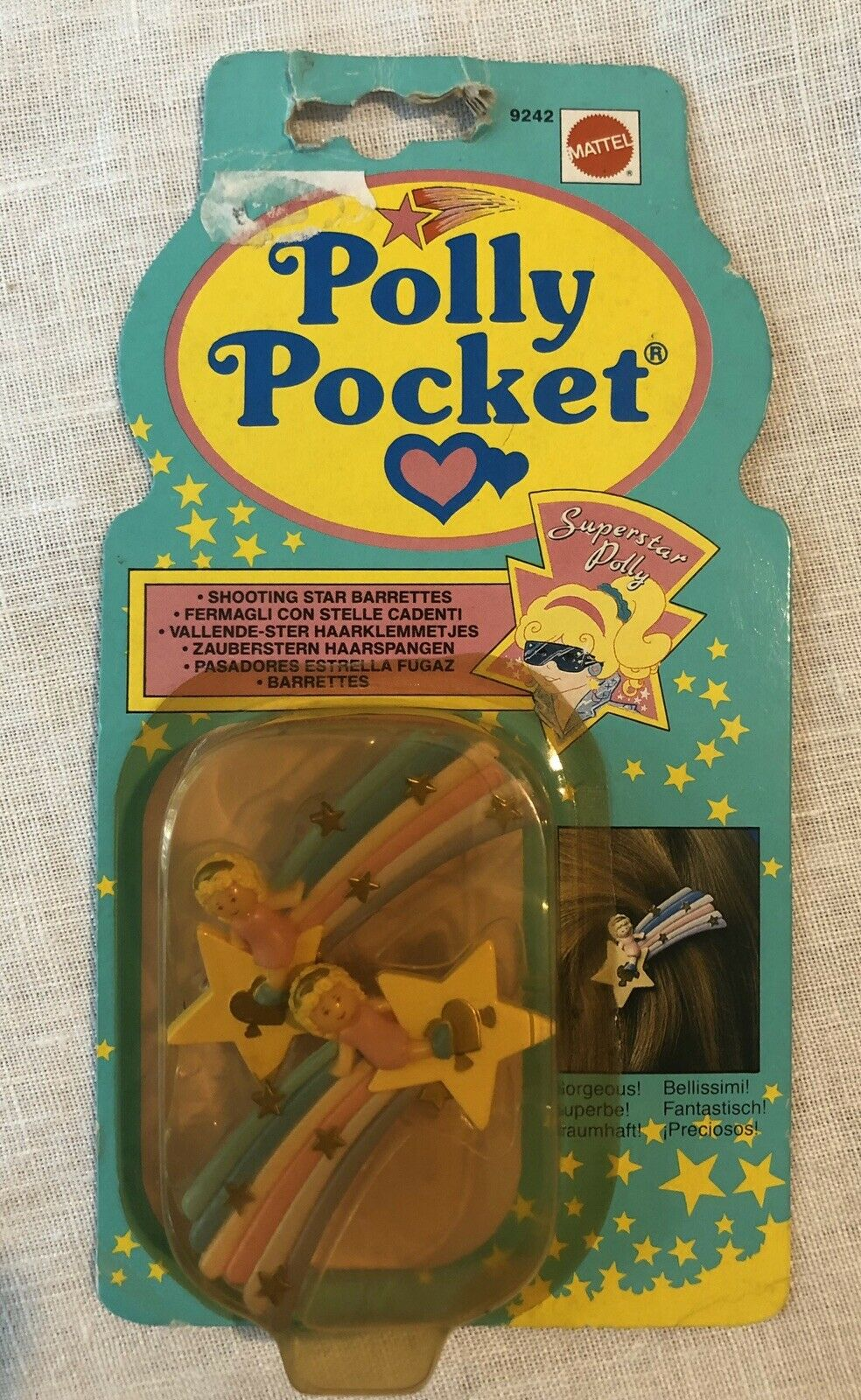 Polly Pocket Shooting Star Barrettes 1990 New In Box
