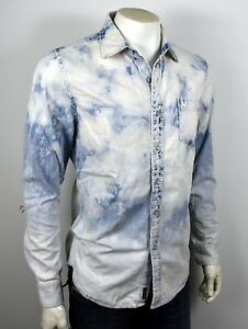 True-Religion-Men-039-s-Bleach-Washed-Big-T-Button-Up-Shirt-Top-MSGAA8BD7-Size-XL