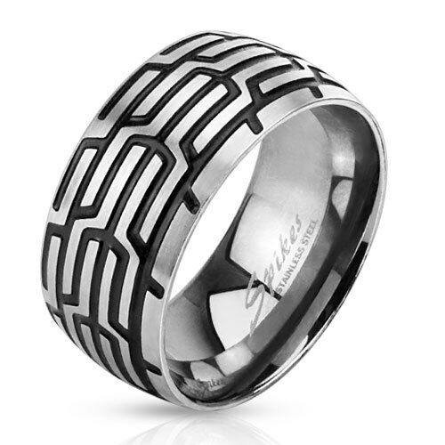 316L Stainless Steel Mens Grooved Tire Tread Design Band Ring Size