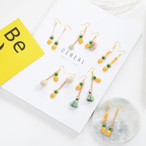2018 Fashion Lovely Pineapple Fruit Cartoon Alloy Electroplated Dangle Earrings