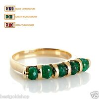 Technibond 5 Bead Faceted Gemstone Stack Ring 14k Yellow Gold Clad Silver 925