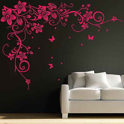 Butterfly Vine Flower Wall Art Stickers, Decals 031