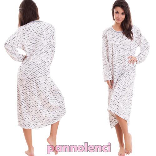 Camicia da notte donna calda pigiama intimo cuori bottoni cotone nuovo 5642-MOD