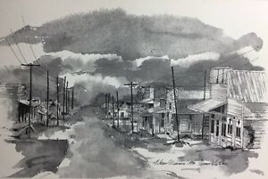 Olean-Missouri-1973-Sketch-Print-Town-Scene-Black-And-White-Beautiful
