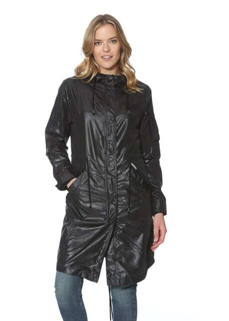 Womens Black Fishtail Parka