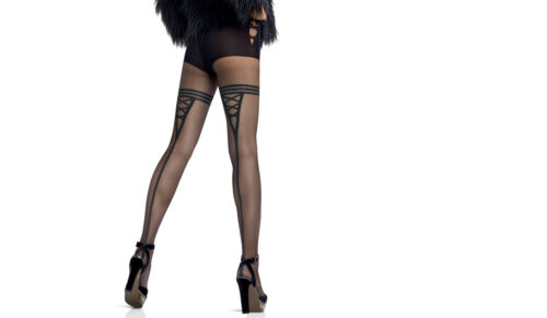 Le Bourget Collant Emotion 20 Denier Patterned Tights Fancy brief /& Back Seam