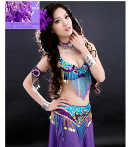 NEW-NJ02-Belly-Dance-Costume-Outfit-Set-Bra-Top-Belt-Hip-Scarf-Bollywood-2-PCS