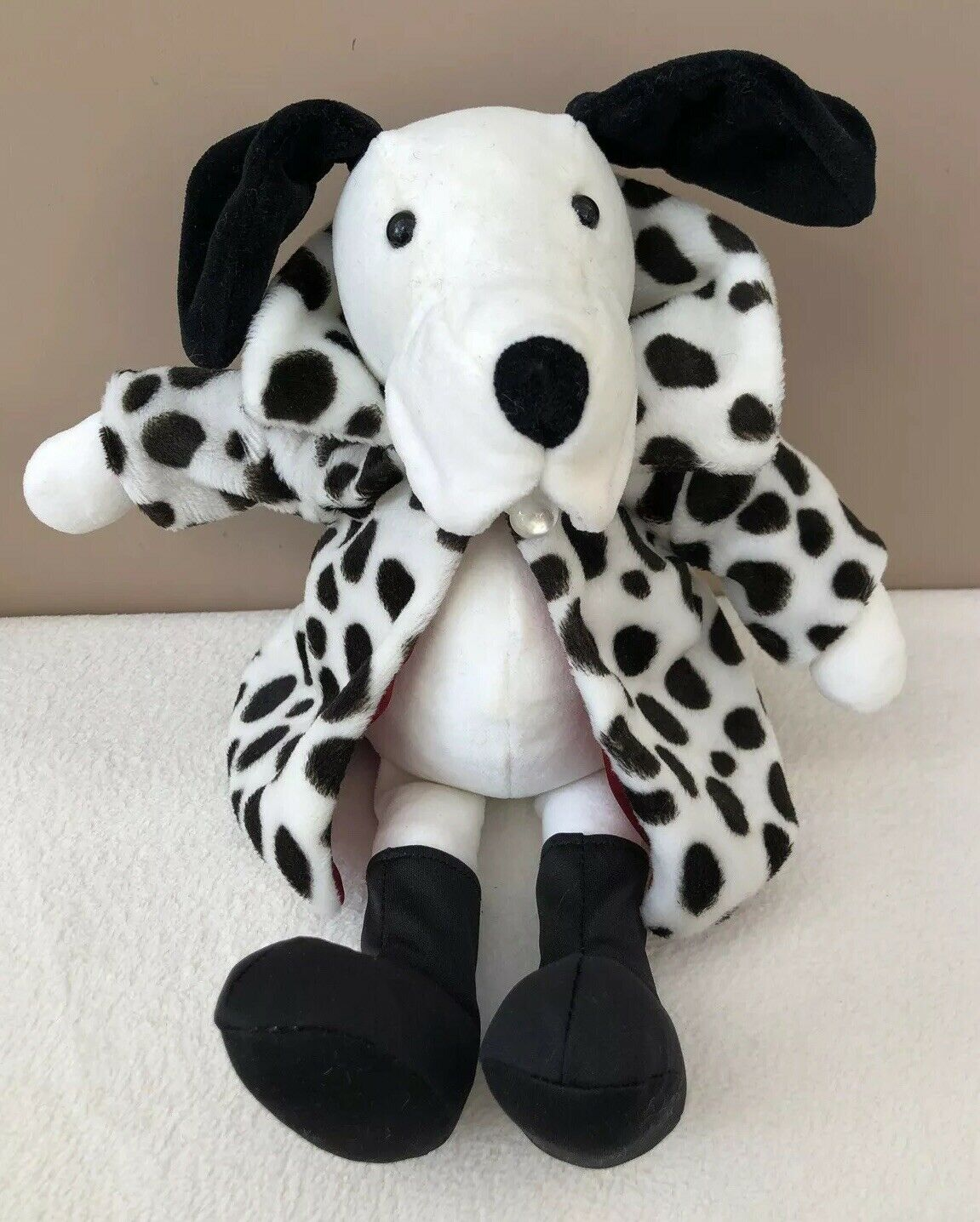 Jellycat Handsome Hound Dalmatian Fur Coat Dog Comforter Soft Toy Retired Rare