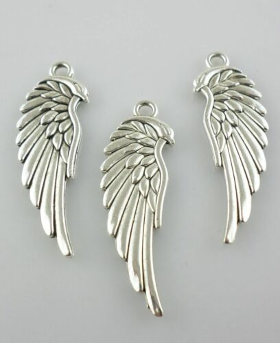 48pcs Tibetan Silver 11x33mm Angle Wings Charms Pendants Beads for Jewelry