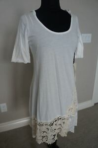 NEW-4Love-amp-Liberty-Johnny-Was-Crochet-Lace-Hoodie-Tee-Tunic-Top-Dress-S-Cotton