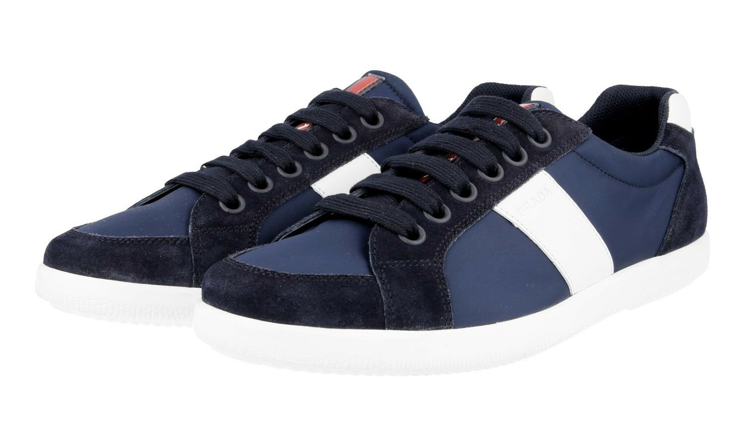 AUTHENTIC PRADA SNEAKERS SHOES 4E2845 blueE WHITE NEW 6,5 40,5 41
