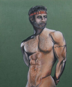 Print Of Pastel Male Drawing - Looking Back Man Pin Up Art Figure Artist Andreev