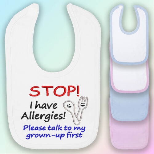 I Have Allergies Embroidered Baby Bib Gift Alert Allergy Food
