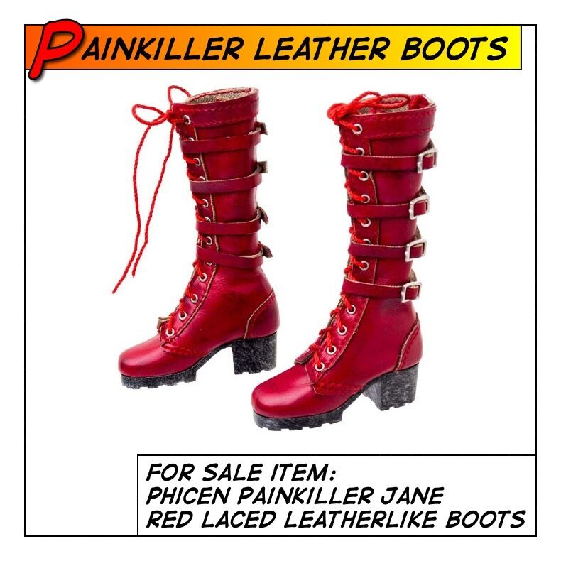 Phicen Painkiller Jane Hot Red Leatherlike Boots for 1 6 12 in scale Female Toys