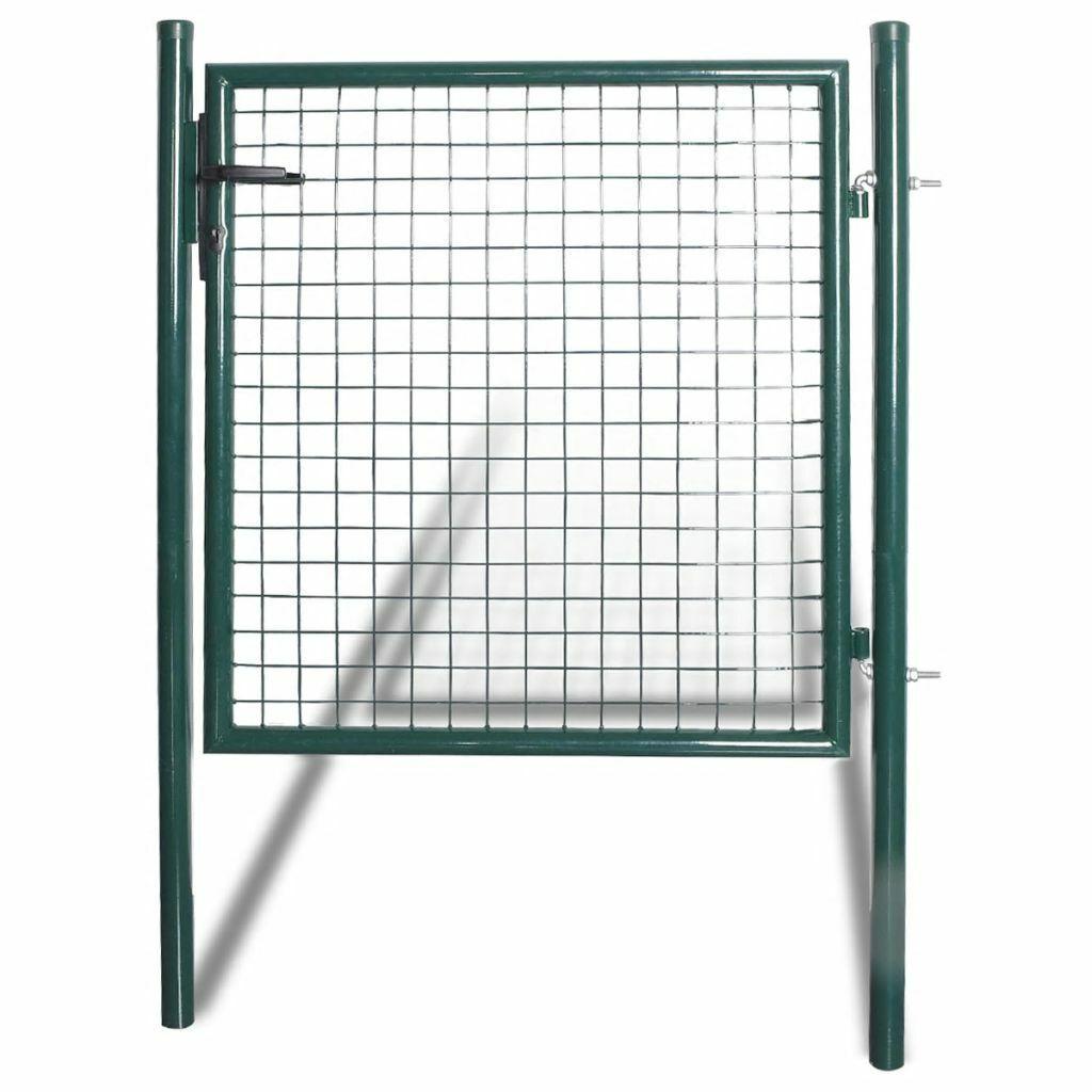 vidaXL Puerta Doble de Valla Acero Revestida de Polvo Verde Oscuro 100x150cm