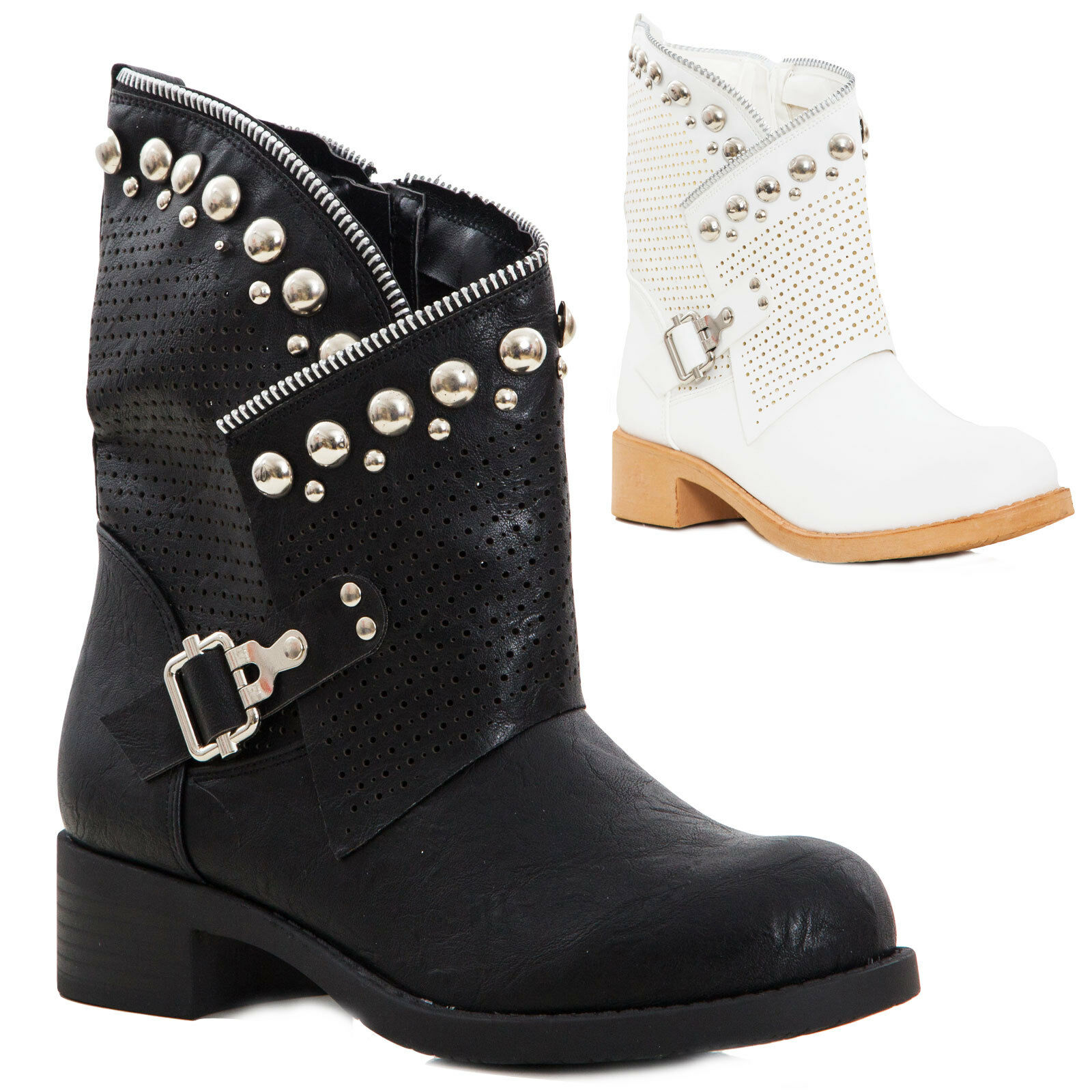Women's Boots Low Biker Boots Motorcyclist Studs Perforated New K811