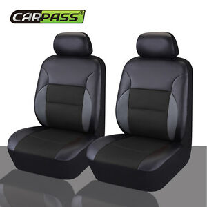 Universal-2-Front-Car-Seat-Covers-Black-PU-Leather-Breathable-For-Van-TRUCK-SUV