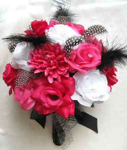 Wedding bouquet bridal silk flowers hot pink fuchsia white black image is loading wedding bouquet bridal silk flowers hot pink fuchsia mightylinksfo