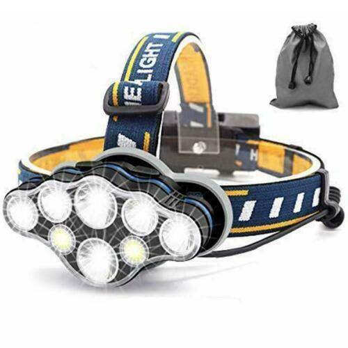 Superheller 18000 Lumen 8 LED 8 Modi Kopflampe mit Rotem Warnlicht Q6K0