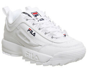 Details zu Womens Fila Disruptor Ii Trainers White Leather Trainers Shoes