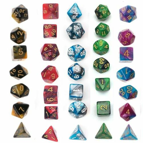 5 x 7-Die Series Two Colors D/&D DND RPG MTG Table Games Dice With Free Pouches