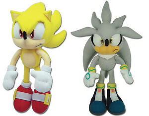 Real Ge Sonic The Hedgehog Stuffed Plush Toys Set Of 2 Super Sonic Silver Ebay