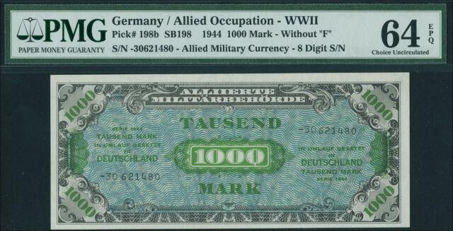 Germany 1000 Mark 1944 Allied Occupation  UNC Ro.207c / P.198b