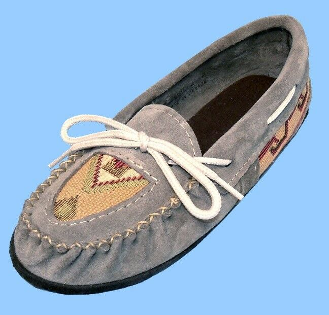 NEU Damenschuhe Größe 8 GREY SUEDE LEATHER Schuhe-LOAFER-MOCCASIN-ARTEZA INLAY-GUM SOLE