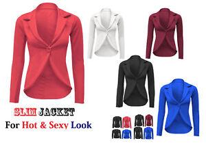 Womens-Ladies-Blazer-Collared-One-Button-Suit-Jacket-Peplum-Slim-Fit-Coat-SlmJk