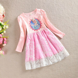 NEW USA Frozen Princess Elsa Lace Birthday Girls  Dress Pink 2T 3T 4 5 6