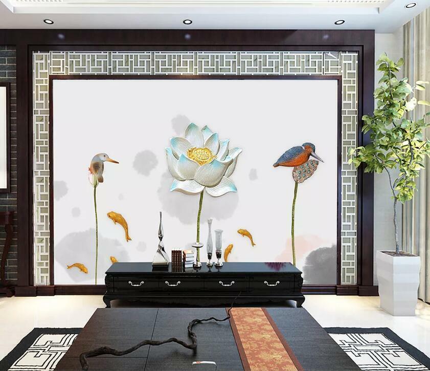 3D Lotus Fisch Vogel H3027 Tapete Wandbild Selbstklebend Abnehmbare Aufkleber We